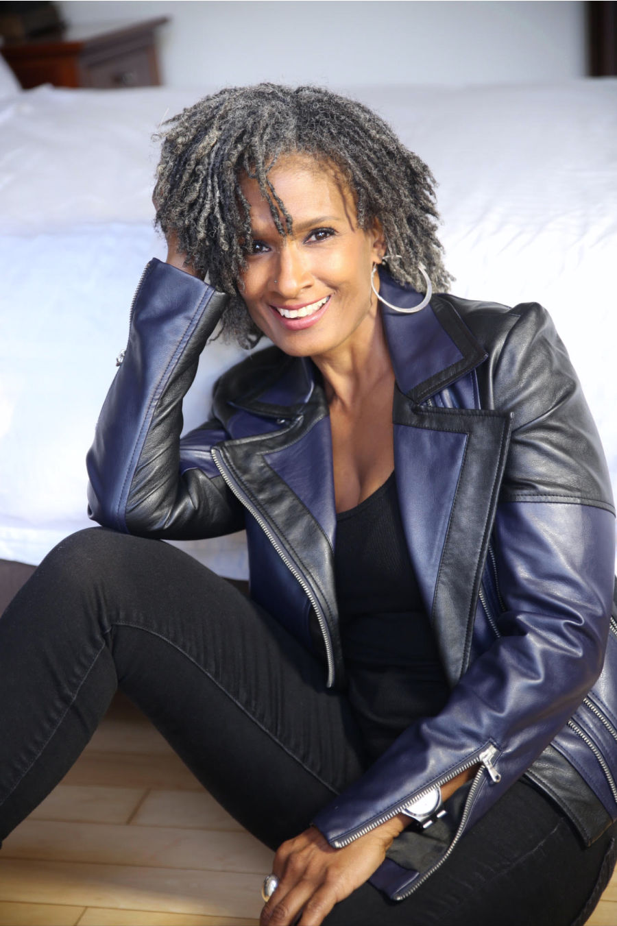 Carla Kemp was a model in her teens, took an extended break, and then came back to modeling in her 50s. She embraces her natural hair and owns her power.