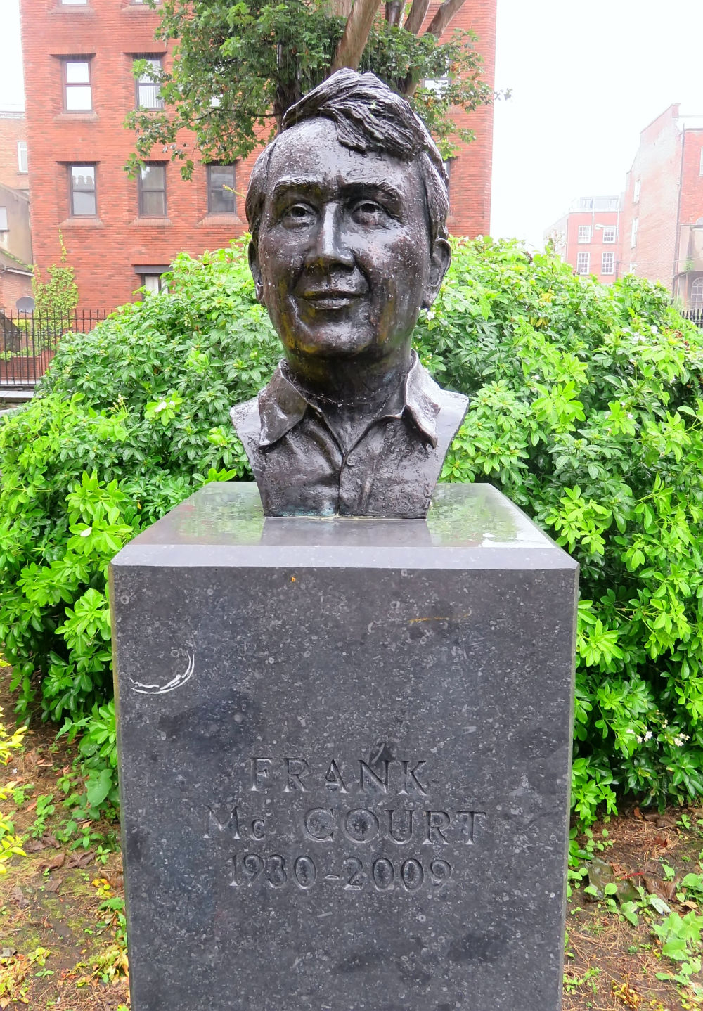 Photo of bust of Frank McCourt